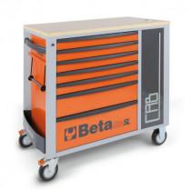 BETA C24SL-CAB/O liikuteltava työkaluluvaunu 7:llä laatikolla ja sivukaapilla, oranssi