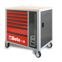 BETA C24SL-CAB/R liikuteltava työkaluluvaunu 7:llä laatikolla ja sivukaapilla, punainen