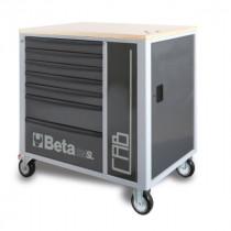 BETA C24SL-CAB/G liikuteltava työkaluluvaunu 7:llä laatikolla ja sivukaapilla, harmaa