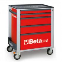 BETA C24S/5-R liikuteltava työkaluvaunu 5:llä laatikolla, punainen