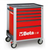 BETA C24S/6-R liikuteltava työkaluvaunu 6:lla laatikolla, punainen