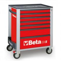 BETA C24S/7-R liikuteltava työkaluvaunu 7:llä laatikolla, punainen
