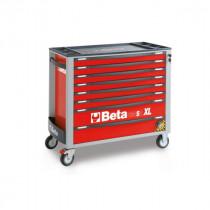 BETA C24SAXL/8-R liikuteltava työkaluvaunu 8:lla laatikolla, leveä malli, anti-tilt, punainen
