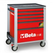 BETA C24SA/6-R liikuteltava työkaluvaunu 6:lla laatikolla, ANTI-TILT, punainen