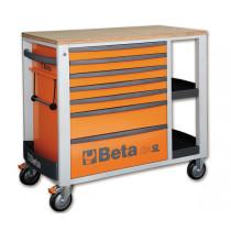 BETA C24SL-O liikuteltava työkaluvaunu 7:llä laatikolla ja sivutasoilla, oranssi