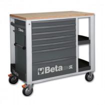 BETA C24SL-G liikuteltava työkaluvaunu 7:llä laatikolla ja sivutasoilla, harmaa