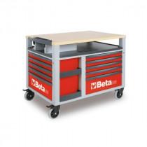 BETA C28-R SUPERTANK, liikuteltava työkaluvaunu työtasolla ja 10:llä laatikolla, punainen