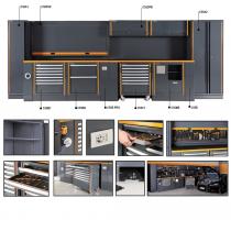 BETA C55 Kattava autotallin kalusteyhdistelmä liikuteltavalla työkaluvaunulla, kaapistoilla, laatikostoilla, pistorasioilla, paineilmaletkulla ja valaisimilla lähes täydelliseksi työpisteeksi. Mitat 5400x2000x760mm