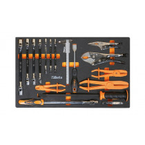BETA M78 Foam tray with swivel end socket wrenches, pliers and measuring tools
