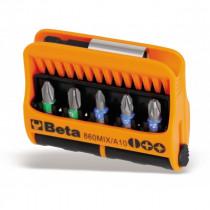 """BETA 860MIX/A10 BITS palat pitimessä, 1/4"""" kanta. Magneettipidin ja 10 palaa. Koot ristikannat PH1-PH2-PH3, PZ1-PZ2-PZ3 ja talttakärjet 0,5x3 - 1x5,5 - 1,2x6,5mm"""