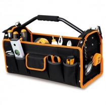 BETA C10S teknisestä kankaasta valmistettu työkalupakki, paljon taskuja, pohjassa tasku, jossa mukaan kuuluva järjestelijärasia. Mitat 420x220x250mm