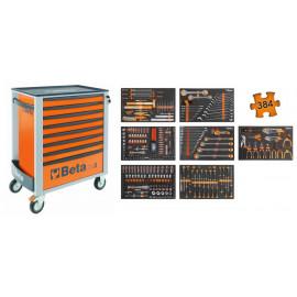 """TYÖKALUVAUNU BETA EASY C24S TYÖKALUILLA 384-OSAA C24S-O8/E-XL. Hylsysarjat vääntiöillä 1/4"""", 3/8"""" ja 1/2"""" lyhyet, pitkät ja kärkihylsyt, avaintyökaluja, pihtejä, viiloja, lyöntityökaluja, konekärkisarja ja BITS-palasarja FOAM-paneeleissa"""