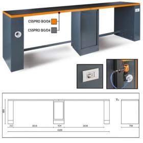 BETA C55PRO-BO/D4 työtaso jaloilla paineilmaletkun kelauksella, pistorasialla ja keskikaapilla, leveys 4100 mm, oranssi reunalista