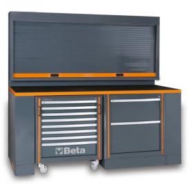 BETA C55PB/3 työpisteen kalusteyhdistelmä liikuteltavalla työkaluvaunulla ja ruloseinäkaapilla. Oranssi reunalista. Mitat 2005x2000x760mm