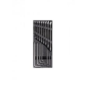 BETA TOOLS  T23 kiintolenkki- ja kuusiokoavaimet lämpömuovatussa paneelissa 16-osaa. Ruostumaton teräs, RST